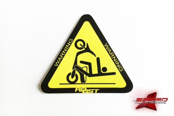 Aufkleber ROOST Sticker, Warning, gelb-schwarz